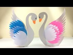 Hearty Welcome To Youten Craft Paper Swan Easy Step By Step Paper Swan How To Make a Swan With Paper In this video we are making a beautiful S. Bird Paper Craft, Quilling Paper Craft, Paper Birds, Paper Crafts For Kids, Preschool Crafts, Fun Crafts, Arts And Crafts, Diy Paper, Paper Crafts Wedding