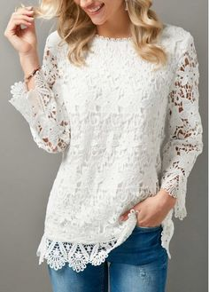 Stylish Tops For Girls, Trendy Tops, Trendy Fashion Tops, Trendy Tops For Women Look Fashion, Diy Fashion, Fashion Outfits, Lace Outfit, Blouse Outfit, Stylish Tops, Trendy Tops, Dress Up Wardrobe, White Lace Blouse