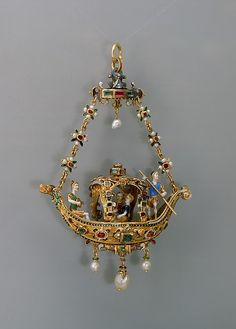 Pendant in the form of a gondola, European, probably second half 19th Century. Enameled Gold set with Diamonds, Rubies, Pearls and Pendant Pearls