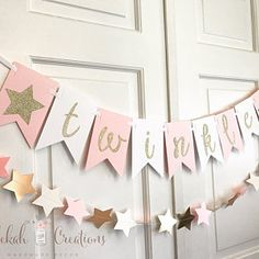 Items similar to PINK and GOLD STAR garland / white pink and gold star bunting / twinkle twinkle little star party / blush ivory gold star garlands / banner on Etsy Star Garland, Balloon Garland, Balloons, Bunting Garland, Pink And Gold, Rose Gold, Star Decorations, Balloon Decorations, Star Nursery