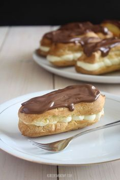 Sweet Desserts, Dessert Recipes, Donia, Sweets Cake, English Food, Polish Recipes, Eclairs, Afternoon Tea, Sweet Tooth