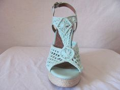 2fa6251d456 New LUCKY BRAND Womens Mint Green Crochet Platform Rilo Wedge Sandals Shoes   89
