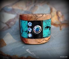 R2 hand made MANZANITA burl turquoise carbon fiber rhinestone natural wooden ring size 6 by R2rockz on Etsy https://www.etsy.com/listing/108373963/r2-hand-made-manzanita-burl-turquoise