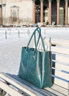 Купить кожаная женская сумка большая сумка из кожи цвет морской волны - морская волна
