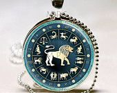 Leo Necklace Zodiac Jewelry Astrological Sign Lion July August Birthday Astrology Art Pendant with Ball Chain Included (ITEM B115)
