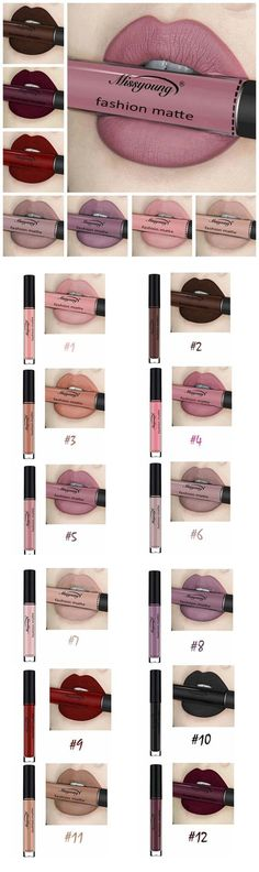 US$ 6.99 Missyoung Matte Lip Gloss Lips Makeup Lipstick Long Lasting Liquid Cosmetics Makeup