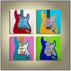 Pop art Guitar painting Music Art Colorful painting Original guitar painting on canvas- quadtych
