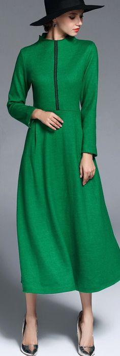 Green Wool Blend Midi Dress