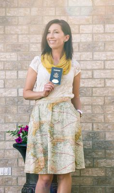 """""""I'm Moving Across The World"""" Outfit - Retrolicious Map Skirt - ModCloth Heels & Scarf"""
