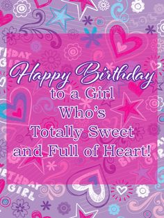 For a young girl who's totally sweet and full of heart, this colorful card is a wonderful way to wish her a Happy Birthday! A purple background of stars, flowers, hearts and other fun designs sets the tone for a fabulous celebration. However old she's turning, she'll absolutely love to see this greeting in her inbox, knowing you're thinking of her, whether you're there when she blows out the candles or across the miles. Girl Birthday Cards, Birthday Greeting Cards, Birthday Greetings, Happy Birthday, Birthday Reminder, Birthday Calendar, Purple Backgrounds, Color Card, Kids Cards