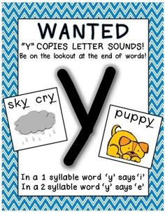 """Here's a cute """"WANTED"""" Poster for the letter sounds of 'y' at the ends of words. A visual reminder that 'y' sometimes says the sounds of /i/ or /e/ at the ends of 1 syllable and 2 syllable words; also includes words and pictures to help children when decoding tricky endings."""