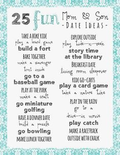 Print our free 25 Mom and Son Date Ideas to help you spend a special day with the little man in your life. It can be difficult coming up with new ideas.