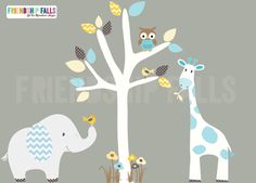 Mini Jungle Decals, Small elephant Wall Decal, giraffe decal, Nursery Decal, Friendship Falls decal, Retro Chevron Scene