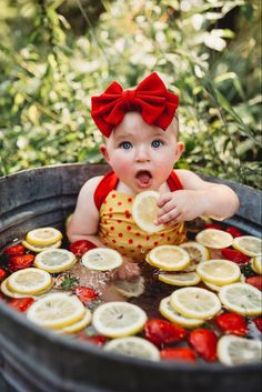 Fruit Bath Baby Photography with Lemons and Strawberries Summer Baby Photos, Baby Girl Photos, Cute Baby Pictures, Newborn Pictures, Milk Bath Photography, Baby Girl Photography, Children Photography, Strawberry Pictures, Baby Milk Bath