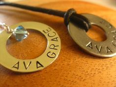 His and Hers Necklaces - Sterling Rings For Him And Her- By Rawkette. $50.00, via Etsy.