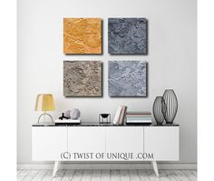 Industrial Metal Abstract Painting / CUSTOM 4 set by TwistOfUnique