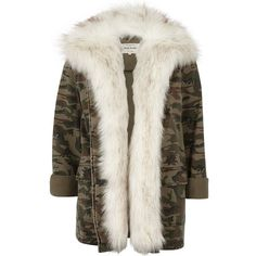 River Island Khaki camo print faux fur lined army jacket ($60) ❤ liked on Polyvore featuring outerwear, jackets, coats & jackets, coats, coats / jackets, khaki, sale, women, faux fur lined jackets and khaki army jacket