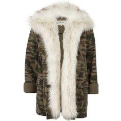 River Island Khaki camo print faux fur lined army jacket (383.590 COP) ❤ liked on Polyvore featuring outerwear, jackets, coats / jackets, khaki, women, camoflauge jacket, khaki jacket, military camo jacket, camouflage army jacket and army jacket