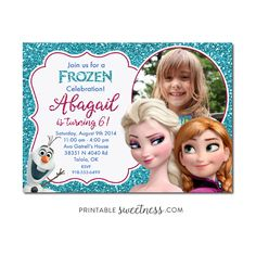 Frozen Birthday Party Invitation – Custom Personalized Printable with Picture Elsa Anna Olaf Glitter | Printable Sweetness