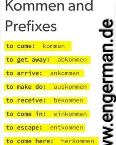 German Grammar, German Language Learning, Prefixes, Things To Know, How To Get, Teaching, Education, Languages, English