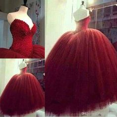 Wholesale Red Quinceanera Dresses Sweetheart Strapless Ball Gown Tulle Beaded Upper Part High Quality Formal Dress For School Luxury Pageant Dress, Free shipping, $147.94/Piece   DHgate Mobile