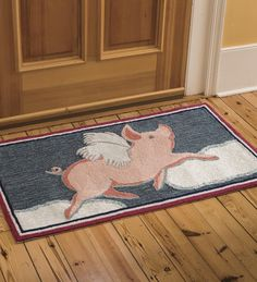 Easy Care Flying Pig Accent Rug | Doormats & Boot Trays