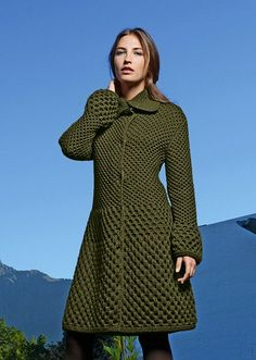 #705 Coat, Fall/Winter 13-14 (Bergere de France French knitting/crochet).  Made in BDF Magic+ (Aran weight)