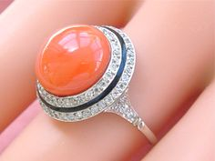 I almost fainted when I saw this one... Antique Art Deco 8ct round coral .60ctw by MelsAntiqueJewelry, $4500.00