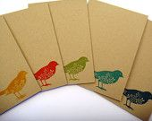 handmade greeting cards set notecards and envelopes blank stamped bird cards birthday cards thank you christmas gift idea for her co-worker