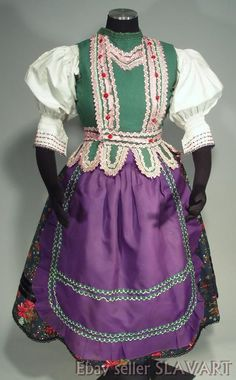SLOVAK FOLK COSTUME ethnic dress Rejdova village skirt blouse vest Gemer KROJ