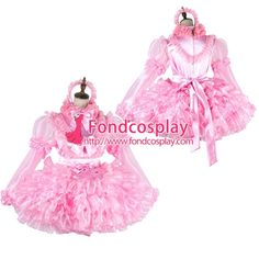 Free Shipping Lockable Sissy Maid Satin-Organza Dress Uniform Cosplay Costume Tailor-made