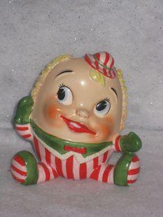 Vintage Christmas Lefton Japan Candy Cane Humpty Dumpty Head Vase w Label