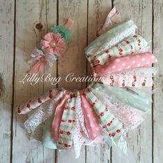 Fabric Tutu Baby Tutu Shabby Chic Tutu by LillyBugCreationsToo