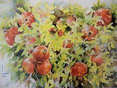 "Saatchi Art Artist Munir Alubaidi; Painting, "" pomegranates sold"" #art"