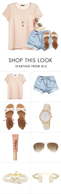 """""""ruru"""" by thefashionbyem ❤ liked on Polyvore featuring H&M, Billabong, Kate Spade, Too Faced Cosmetics, Ray-Ban, BaubleBar, Kendra Scott, Isabel Marant, women's clothing and women"""