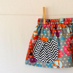 Childrens Clothing  Girls Skirt  Grey Poppy with by CorinneCitrolo, $20.00