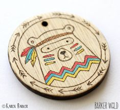 Tribal Bear Pendant – Painted Pyrography Wearable Art Wood Necklace, Woodland Bears Eco Pendant, Organic Cartoon Bear woodland animal – Amy's Arts – NeuPin Wood Burning Crafts, Wood Burning Patterns, Wood Crafts, Holz Wallpaper, Articles En Bois, Pyrography Designs, Pyrography Tips, Pyrography Patterns, Scraps Quilt