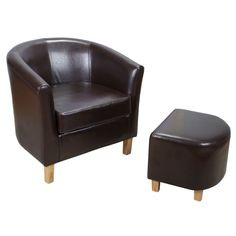 Sandringham Leather Tub Chair and Footstool – Next Day Delivery Sandringham Leather Tub Chair and Footstool