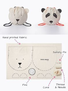 Patron sac enfant - kid's drawstring backback bag kits - every second month they will add a new kit with a stylish and unique design Chick Chack Sewing Hacks, Sewing Tutorials, Sewing Patterns, Sewing Kit, Fabric Crafts, Sewing Crafts, Sewing Projects, Diy Projects, Sewing For Kids