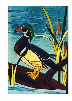 stained glass duck | Stained Glass Wood Duck WindowDimensions: window is 30″ high, 20 ...