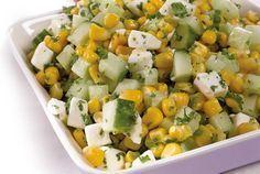 Maissi-kurkkusalaatti No Gluten Diet, Vegetarian Recepies, Finnish Recipes, Fodmap, I Foods, Food Inspiration, Potato Salad, Seafood, Good Food