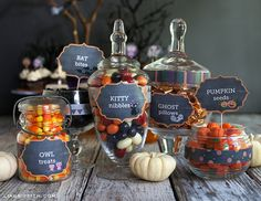 Free printables: Halloween Candy Labels that you can EDIT with your own titles.  {Lia Griffith}
