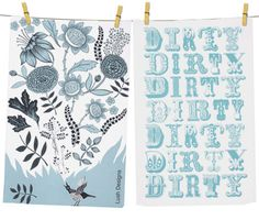 Graphic print tea towels