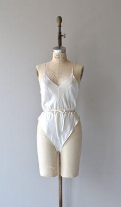 Nicolette romper vintage silk teddy silk 80s by DearGolden