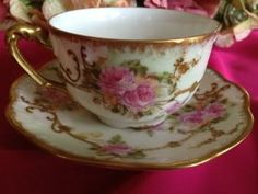 Limoges France Demitasse Tea Cup and Saucer with Pink Roses