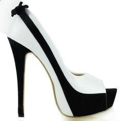 efedd3b943f357 Show Story Sexy White  Black Two Tone Peep Toe Bow Stiletto Platform  High