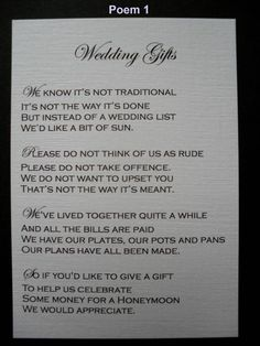 Find This Pin And More On Wedding Polite Way To Ask For Money Instead Of Gifts