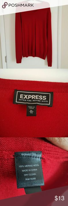 Men's Express Sweater Men's 100% Merino Wool V-Neck Sweater. Only Worn Once. In Great Condition. Dry Clean Only. Size XL. Color Is Red. Express Sweaters V-Neck