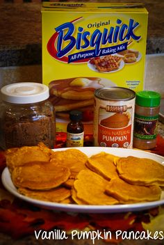 Vanilla Pumpkin Pancakes, using Bisquick