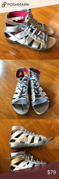 """Nike Gladiateur Mid Sandals! (silver) Rare Nike """"Gladiateur"""" gladiator sandals in silver. Very clean shoes, but signs of wear where the silver coloring is scratched and wrinkles where the leather naturally bends during wearing. Open to reasonable offers! Nike Shoes Sandals"""